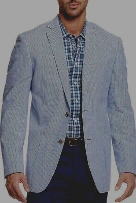 GAP Denim Blue-gray & white SEERSUCKER STRIPED SPORTS JACKET BLAZER Large Tall