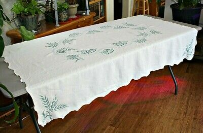 """Vintage Cross Stitch Embroidered Linen Tablecloth Off White 64"""" x 48"""" ~ ESTATE"""