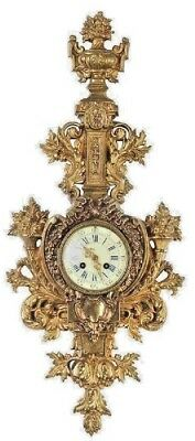 Large Beautiful 19C French Louis XVI Style Gilt Bronze Cartel Clock