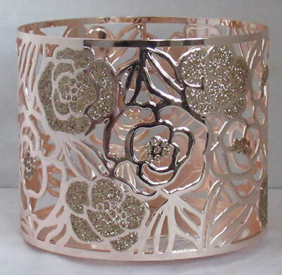 BATH /& BODY WORKS GOLD ROSES GLITTER FLOWERS LARGE 3 WICK CANDLE HOLDER 14.5OZ