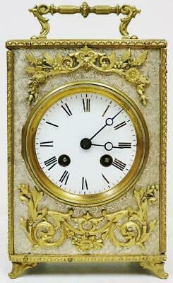 Rare Antique French Silvered & Bronze Carriage Clock 8 Day Officers Mantel Clock