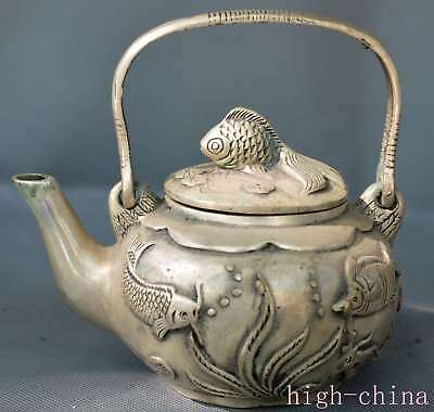 China Collectable Old Royal Miao Silver Carve Pond Goldfish Lotus Special Teapot
