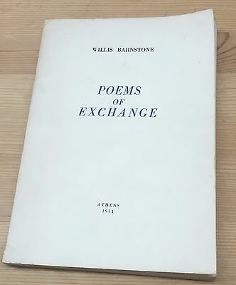 Willis Barnstone Poems of Exhange First Book Private Press Signed Edition 1951