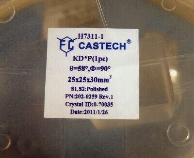 "VERY LARGE KD*P DKDP crystal 25x25x30mm NEW FREE Input window AR 1064nm 2"" dia."