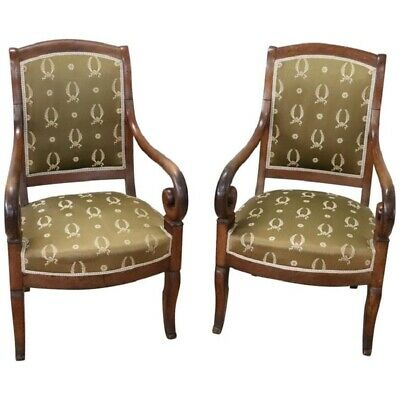 19th Century French antique Empire Walnut Pair of Armchairs with Volute Arms