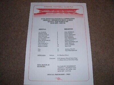 Arsenal V Brighton & Hove Albion Reserves Football Combination 20Th March 1995