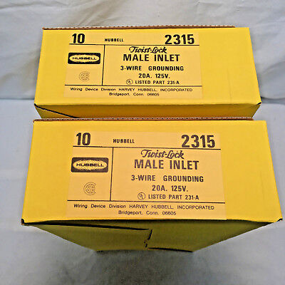 (20) Hubbell 2315 Twist-Lock Flanged Male Inlet 20A 125V 3 Wire Grounding Plug