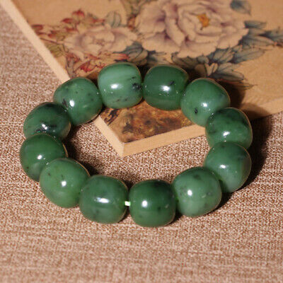 Chinese Hetian Jasper Fruit Green Jade Hand Carved 12PCS Circle Bead Hand Chain