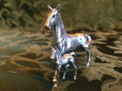 Collectible Marked Spanish Solid Sterling Silver 925 Horse With Foal Figurine.