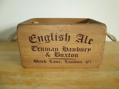 Vintage / Antique Style Solid Wood English Ale Crate Trug Box Rope Handles