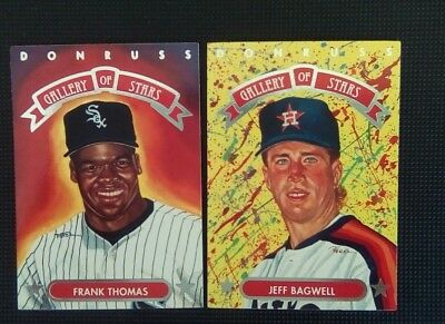 1992 vintage Frank Thomas & Jeff Bagwell Leaf Gallery of Stars by perez lot of 2
