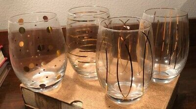 Rare Set of 4 Mikasa CHEERS Stemless Gold Dot Line Art Deco NOS Wine Glasses