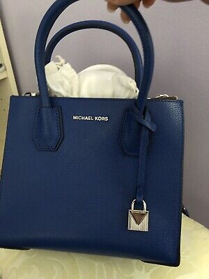 329f1cf7b1c1 NWT Michael Kors Studio Mercer Medium Electric Blue Pebbled Leather  Messenger