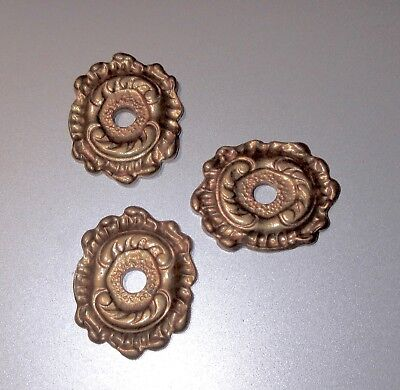 3-lot Vtg Italian SMALL ROSETTE BACKPLATES for Cabinet Knobs- GOLD BRONZE ORMOLU