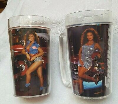 Snap On Tools Calendar Girls Plastic Tumblers Mugs Vintage 1992 Set Of 2 Collectibles Merchandise & Memorabilia