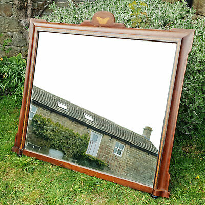 Victorian Walnut Inlaid Overmantle Mirror C19th (Antique)