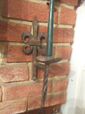 Antique English Hand Made Wrought Iron Candle Sconce