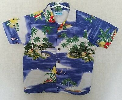 RJC Boys Hawaiian Shirt Size 6 Ocean Boats Flowers Island Aloha Blue Multi-Color