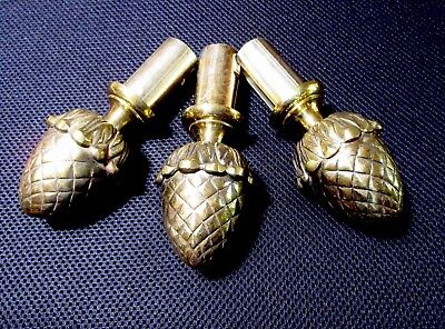 Vtg CLASSIC PineCone /Pineapple FINIALS-Solid Bronze/Brass (Drap Pole/ StairCap)