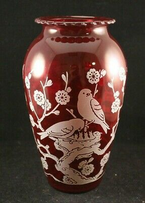 Vintage Ruby Red Glass Vase W/ Birds & Flowers  9 Inches Tall with Scalloped Rim