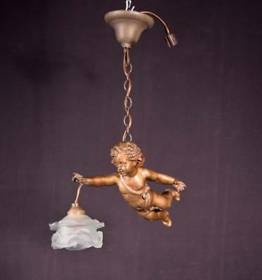 *Antique French Spelter Chandelier/Hanging Lamp with Cherub/Cupid