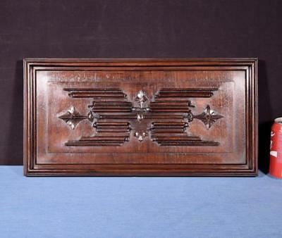 *French Antique Gothic Panel in Deeply Carved Walnut Wood