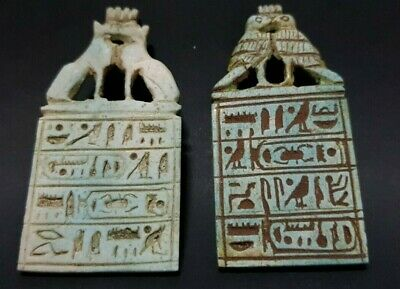 Antiques Ancient Egyptian 2 Talisman Amulets With Hieroglyphics Egypt Stone BC