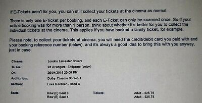 AVENGERS: ENDGAME ODEON LEICESTER SQUARE TICKET (26/4/2019) x 2 - LUXE RECLINER