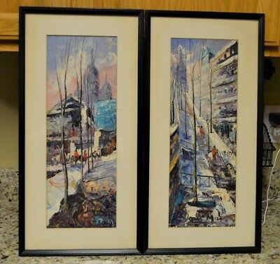 2 ORIGINAL JOAN MAS SIGNED PARIS FRANCE CITYSCAPES OIL PAINTINGS 1960 Framed W/G