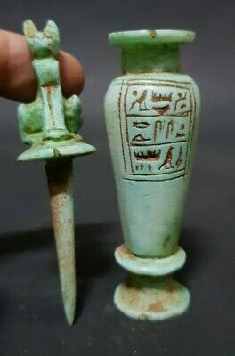 Beautiful Ancient Egyptian Cat Amulet With hieroglyphics Bottle Makhala 300 BC