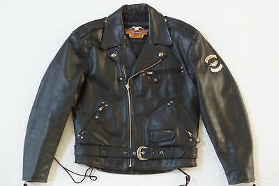 Harley Davidson Mens Vintage Cruiser Embossed Eagle Metal Badge Leather Jacket M