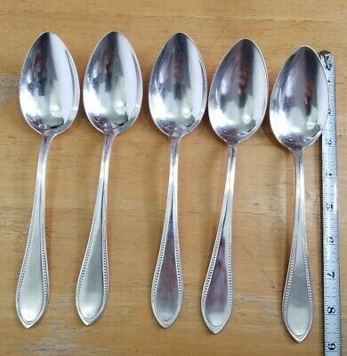 Set Of 5 Vintage-Antique Dube 90 Beeded French Silverplate Table Serving Spoons