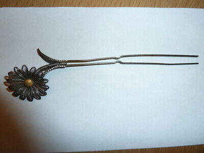 Antique/Vintage Silver Filigree Hair Comb/Pin Daisy/Leaf Tremble Ornament