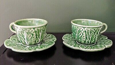 BORDALLO PINHEIRO Made in PORTUGAL GREEN CABBAGE ESPRESSO CUPS & SAUCERS Two