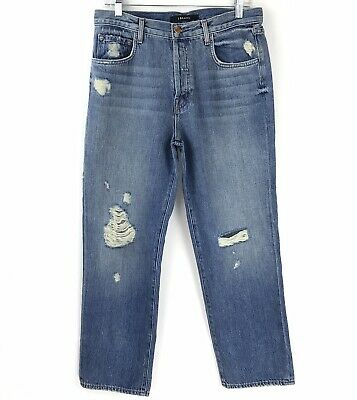 7af54c3f J BRAND Jeans 27 High Rise Straight Leg Destroyed Indigo Button Fly Actual  32x27