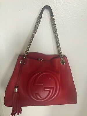 83a0a8fb86a GUCCI - Authentic SOHO Red Shoulder Bag with Gold Chain  Good Condition   308982