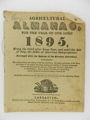 1895 Agricultural Almanac Printed & Sold by John Baer's Sons Philadelphia PA