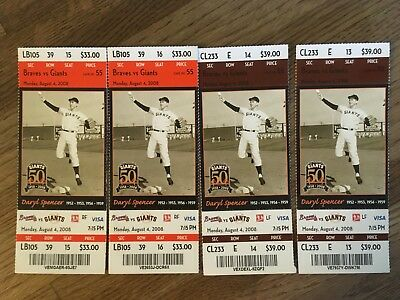 (4) August 4, 2008 SF Giants vs Braves Ticket Stub (Featuring Daryl Spencer)