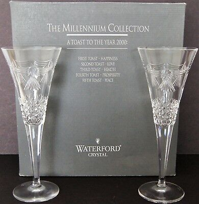 Set Of 2 Waterford PEACE Crystal The Millennium Collection 2000 Toasting Flutes