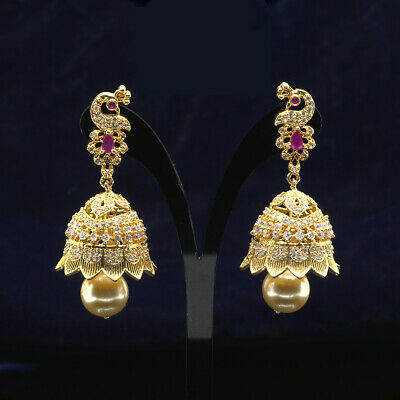 Traditional Party Wear Gold Plated Jhumka Earrings With Pink Stones For Girls