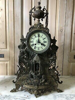 Big Pendulum 60cm Bronze Golden 19th Century Napoleon III French Clock Antique