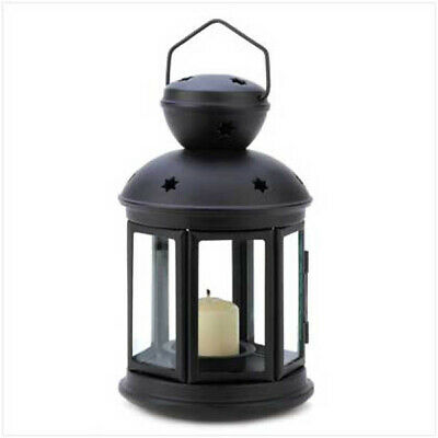 Iron and Glass Black Colonial Style Candle Holder Hanging Lantern Lamp