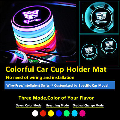 2pcs Colorful LED Coaster Atmosphere Car Light Bulbs For Cadillac Neon Lights