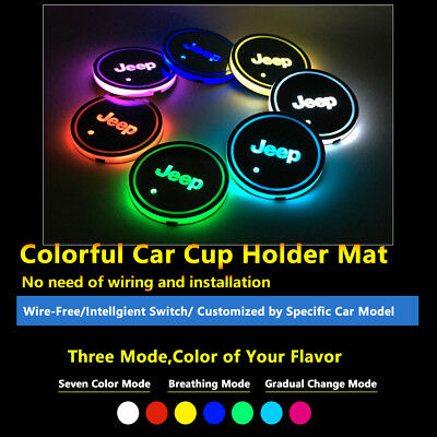2pcs Colorful LED Coaster Atmosphere Car Parts Light Bulbs For Jeep Neon Lights