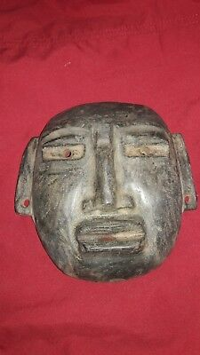 ROUND mask in granite,PRECOLUMBIAN,OLMEC,MAYA,moche