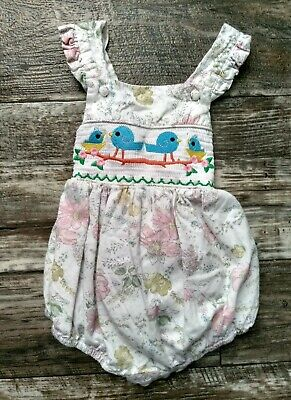 2db672ad4 Lil Cactus Smocked Bluebird Ruffle Bubble Romper Easter 18-24 Months Vguc