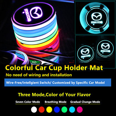 2pcs Colorful LED Coaster Atmosphere Car Parts Light Bulbs For Mazda Neon Lights