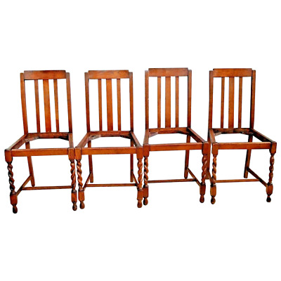 Antique English Barley Twist Solid Oak Wood Chairs set of four original finish