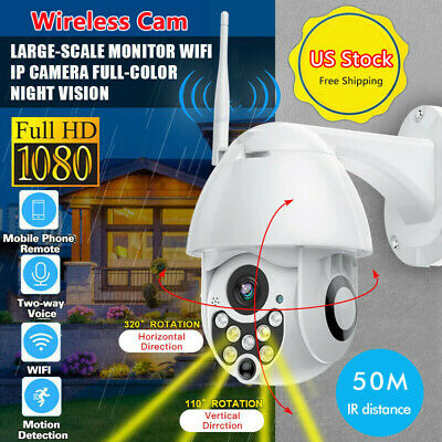 Wireless PTZ Security Camera Waterproof Wi-Fi FHD 2.0MP 1080P Dome 360° Outdoor