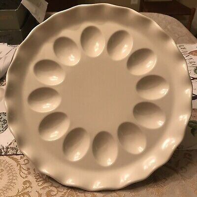 """Pfaltzgraff USA  Creamy White Fluted 11"""" Deviled Egg Plate Excellent"""